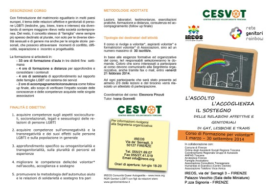 Corso di Formazione per Volontar* CESVOT: L'ascolto, l'accoglienza, il sostegno delle relazioni affettive e genitoriali di gay, lesbiche e trans